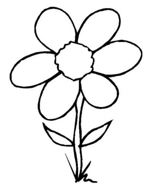 530x627 Pin Simple Flower Drawings For Kids Clipart Best