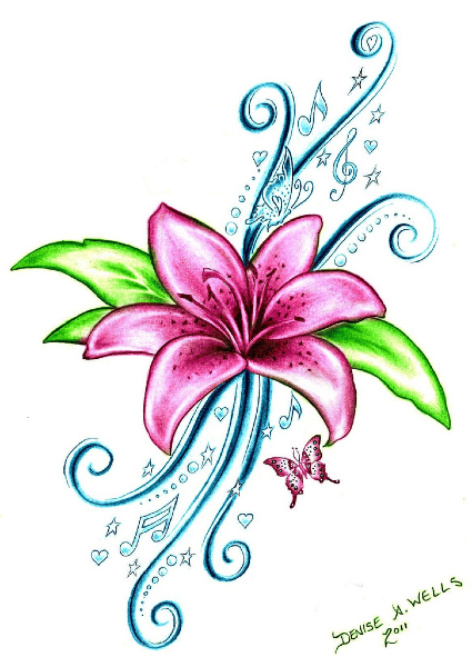 425x600 September Birth Flower Tattoos Design