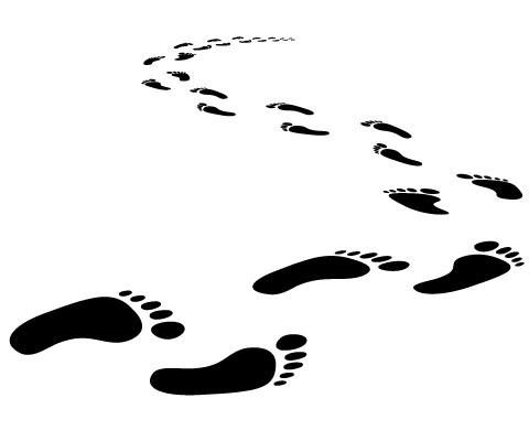 480x400 Walking Footprints Clipart