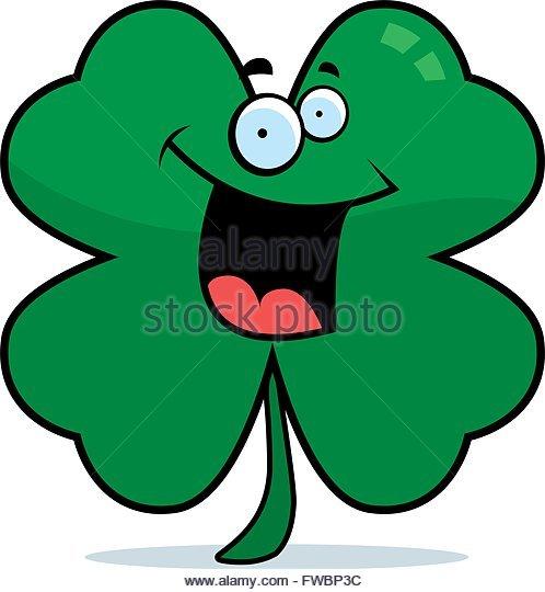 498x540 Cartoon Four Leaf Clover Smiling Stock Photos Amp Cartoon Four Leaf