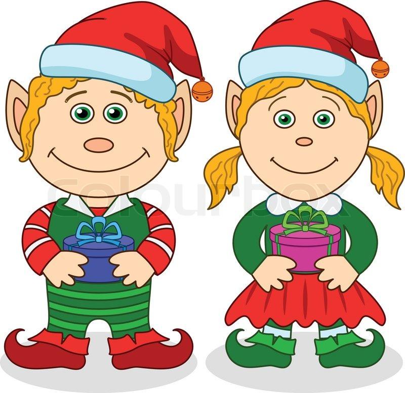 800x776 Christmas Elves, Boy And Girl Stock Vector Colourbox