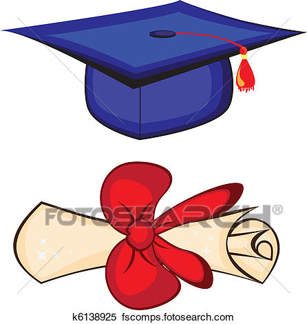 446x470 Clipart Of Graduation Cap And Diploma On A White Background