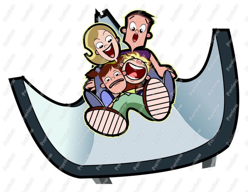 800x619 Family Having Fun On Slide Clip Art
