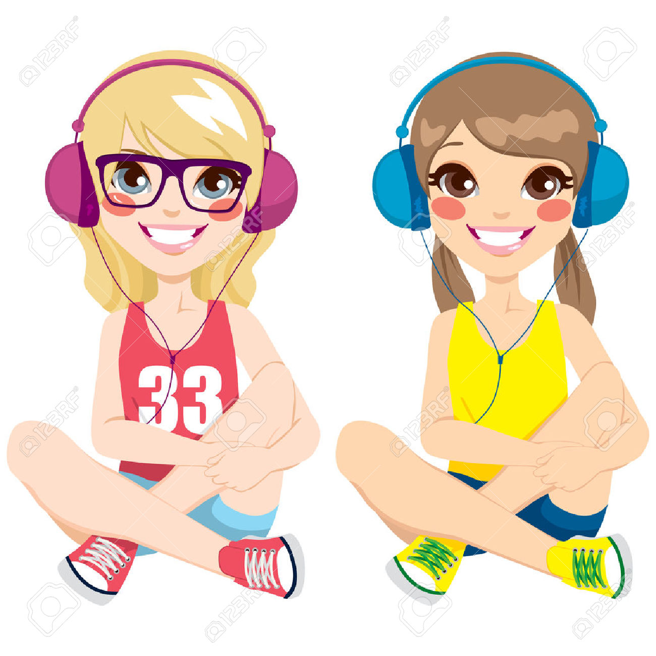 1300x1300 Girl Having Fun With Music Headphones Clipart, Explore Pictures