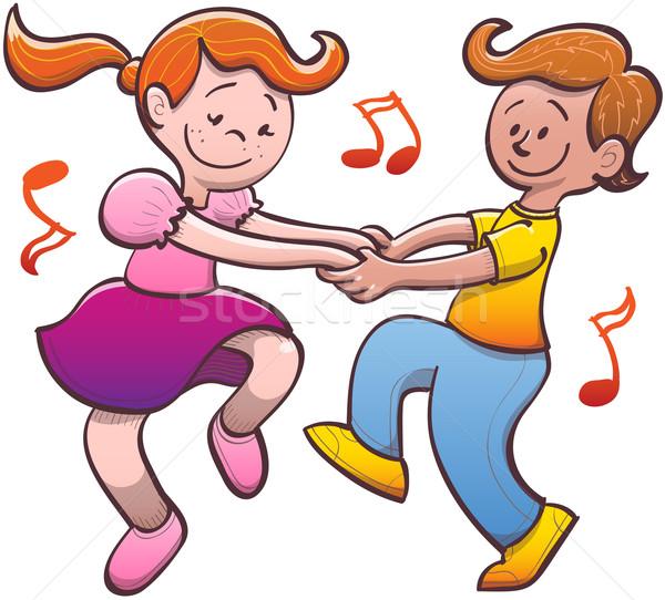 600x542 Nice Couple Of Children Having Fun While Dancing Salsa Vector