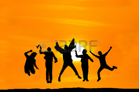 450x299 Silhouette Of Happy People Jumping Over Sunset, Concept About