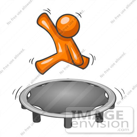 450x450 Clip Art Graphic Of An Orange Guy Character Having Fun Jumping