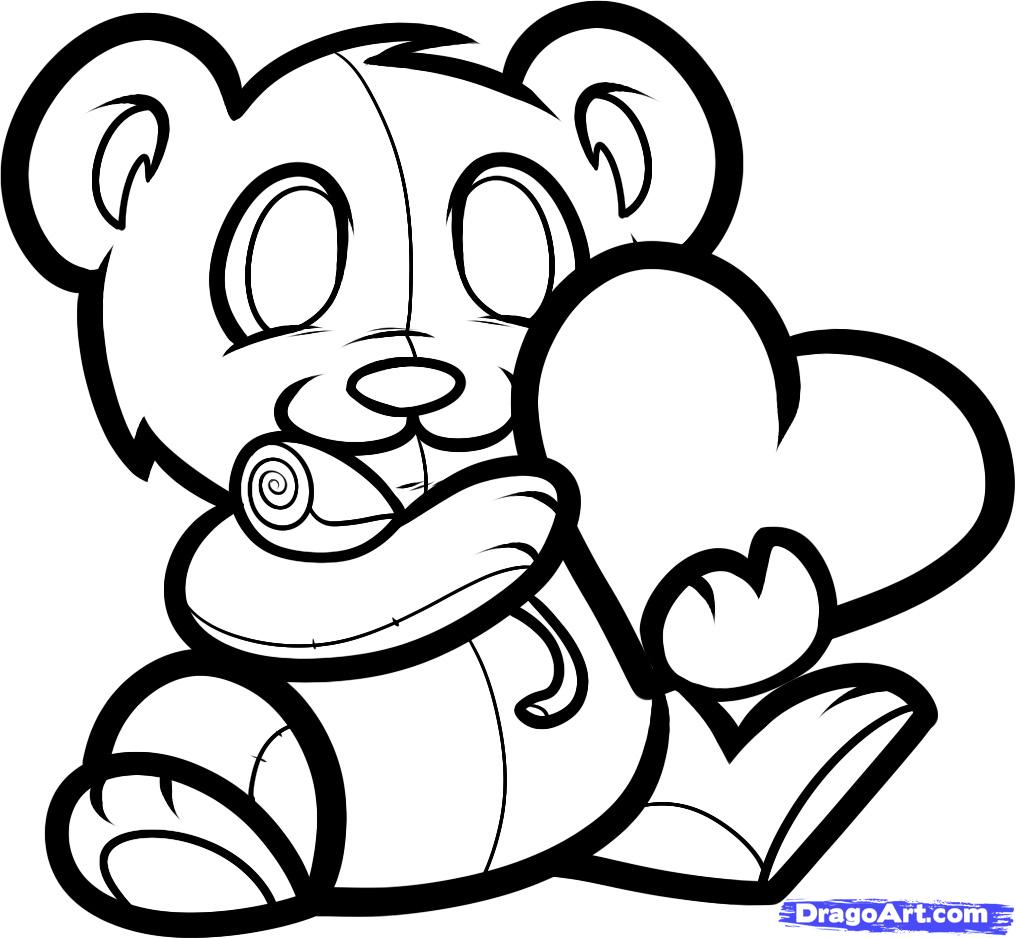 1016x938 Drawings Of Teddy Bear With Heart