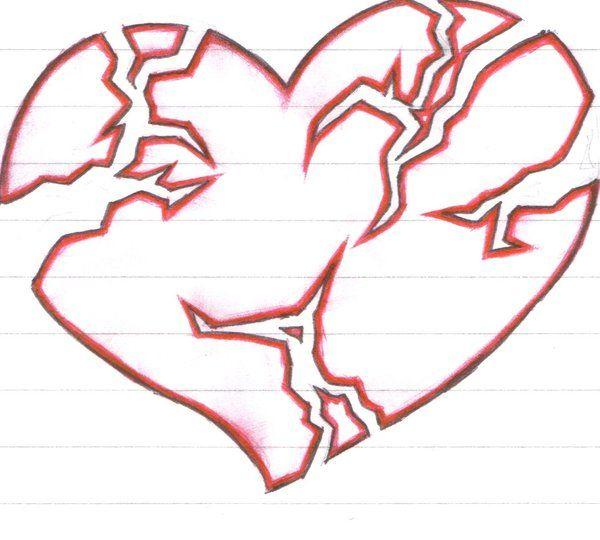 600x540 38 Best Broken Heart Tattoo Designs Drawings Images