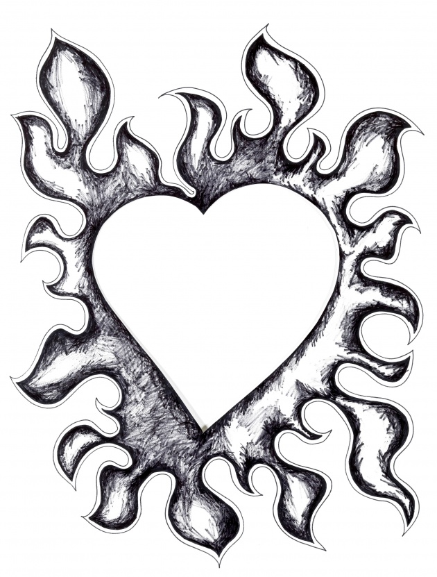 630x831 Hearts On Fire Drawings Drawing Hearts On Fire Hearts On Fire