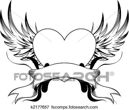 450x384 Clip Art Of Heart Tattoo Insignia K2177657