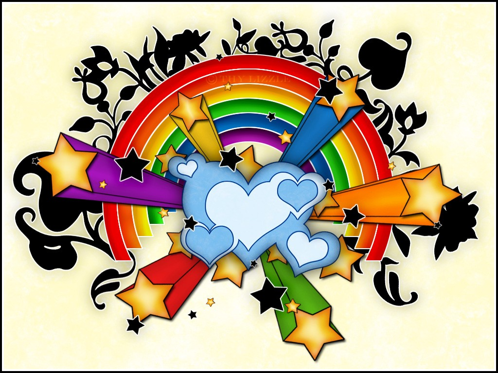 1024x768 Hearts Stars Rainbow Wallpapers Hd Wallpapers