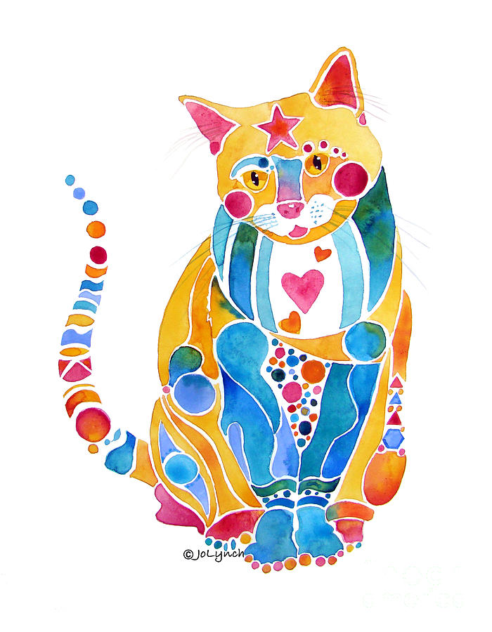 700x900 Jewel Colors Cat With Hearts N Stars Painting By Jo Lynch