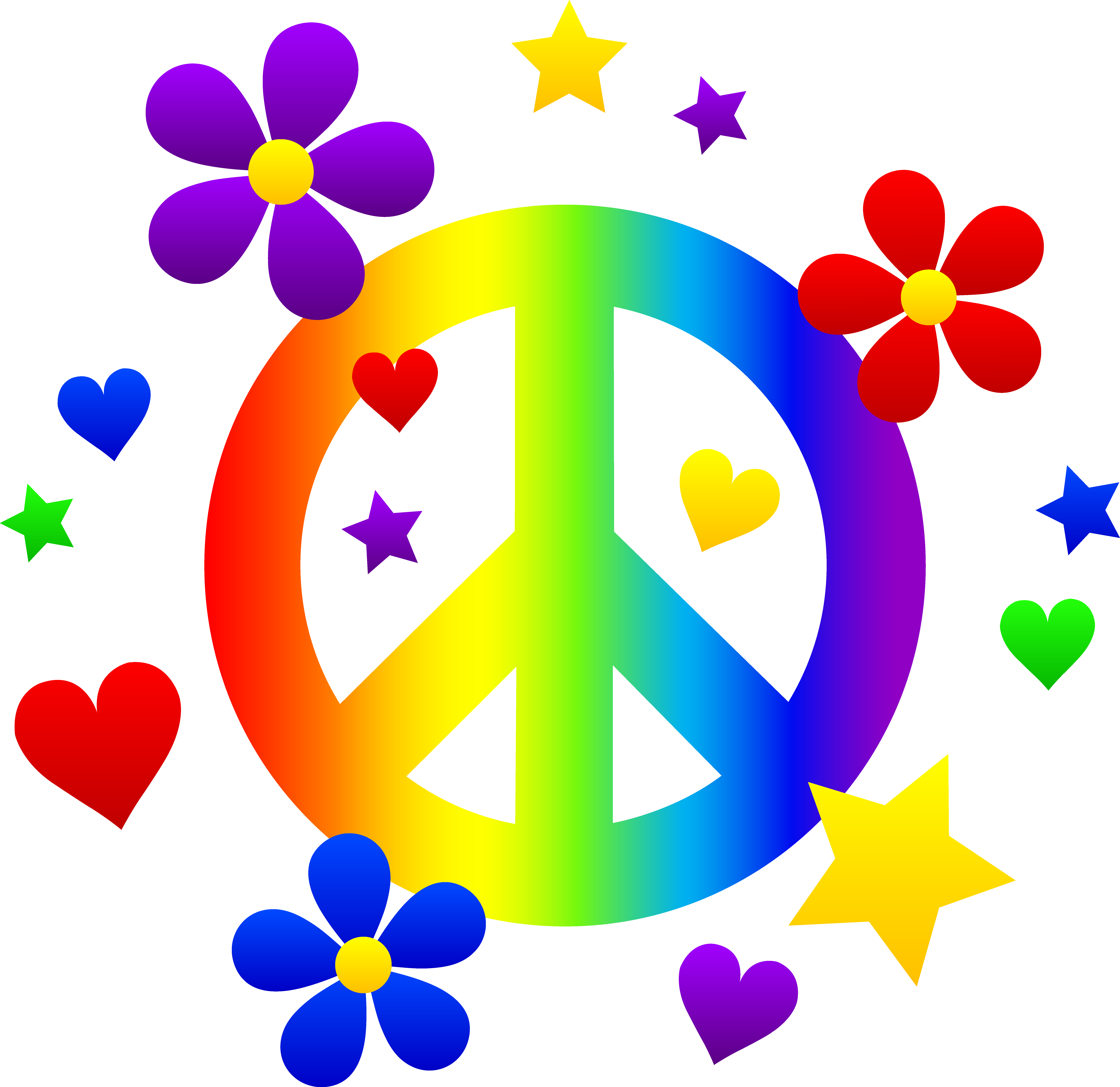 7204x6988 Peace Sign With Flowers Hearts And Stars