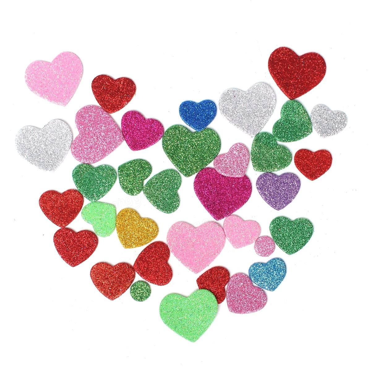 1200x1200 30pcs Assorted Glitter Shapes Hearts Stars Round Flowers Foam