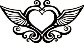 280x144 Heart With Wings Coloring Page Free Printable Coloring Pages