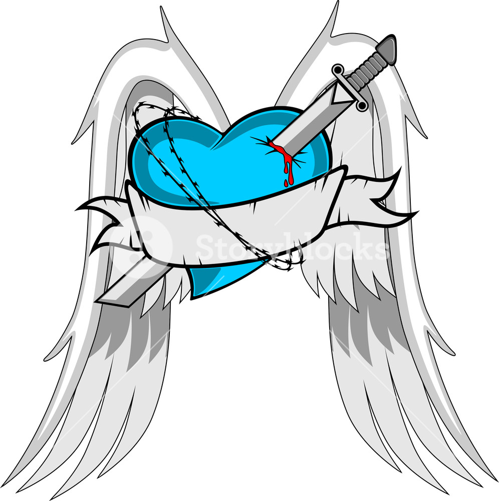 996x1000 Heart With Wings. Sword And Ribbon. Royalty Free Stock Image