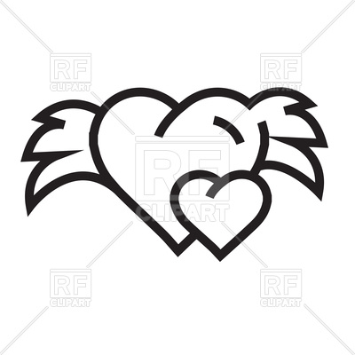400x400 Hearts With Wings Outline Royalty Free Vector Clip Art Image