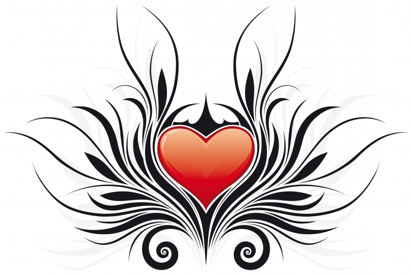 849x566 Clipart Of Hearts With Wings And Roses
