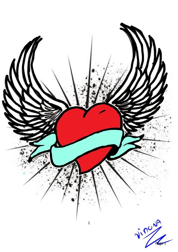 752x1063 Heart With Wings Color By Vidona