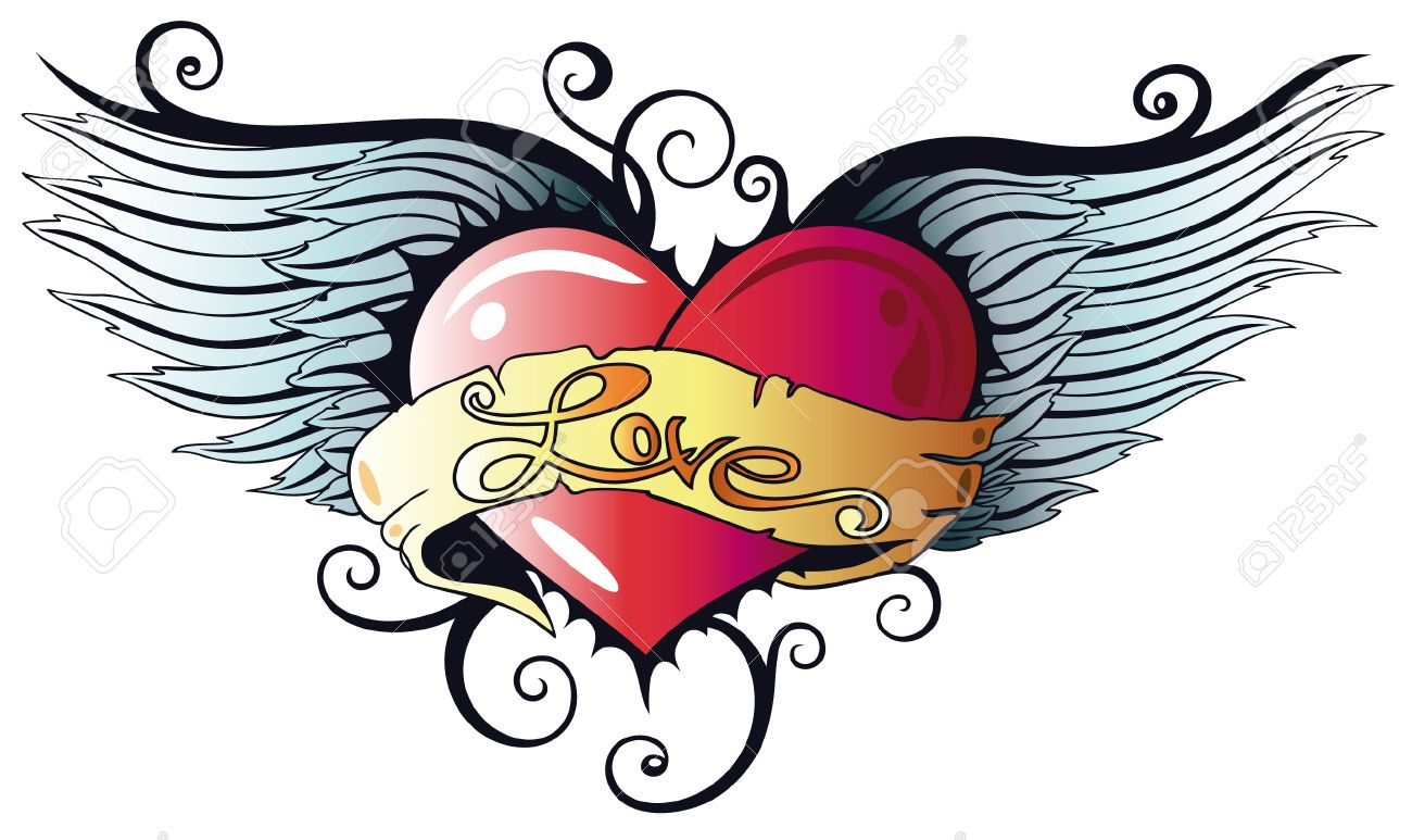 1300x773 Colorful Heart With Wings, Tattoo Style Royalty Free Cliparts