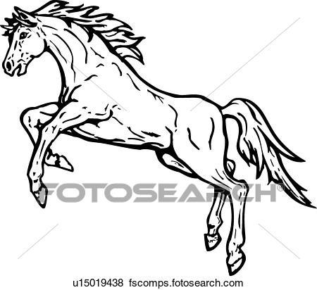 450x412 Clip Art Of Horse Rearing U15019438
