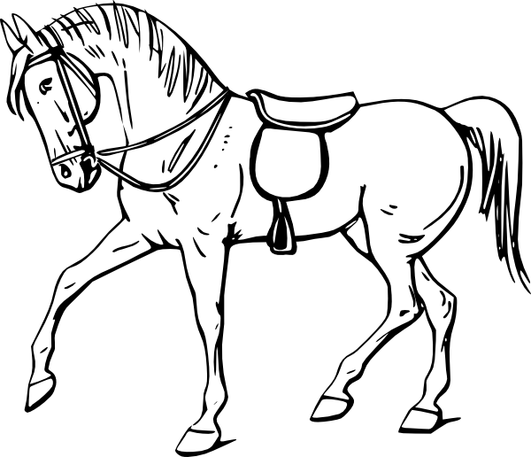 600x516 Walking Horse Outline Clip Art
