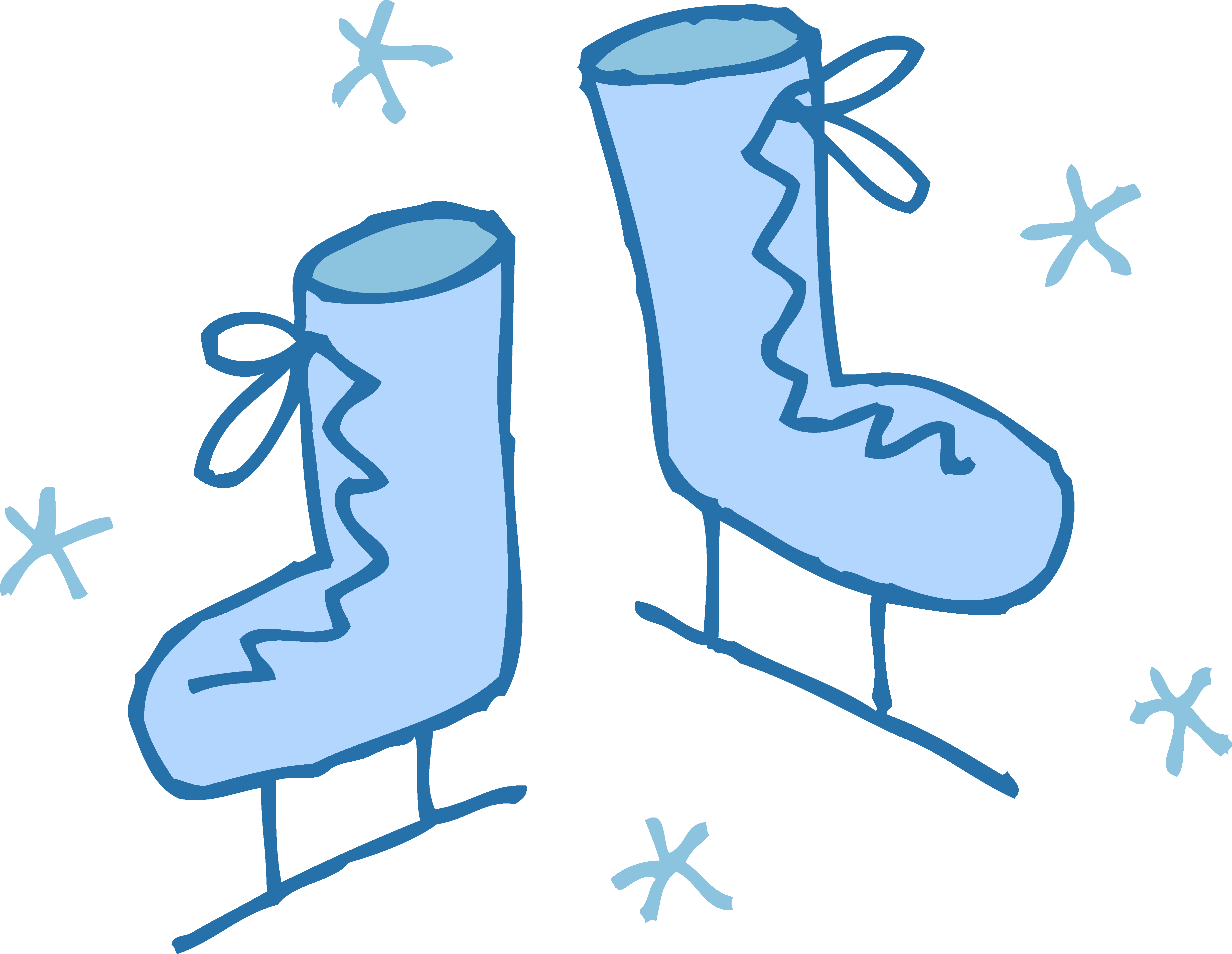 4919x3809 Cute Blue Ice Skates Clipart