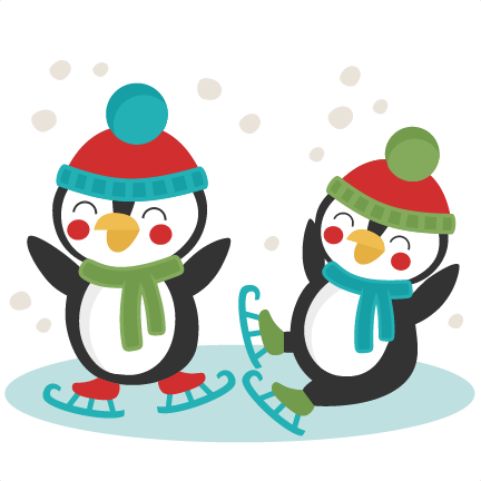 432x432 Penguins Ice Skating Svg Scrapbook Cut File Cute Clipart Files