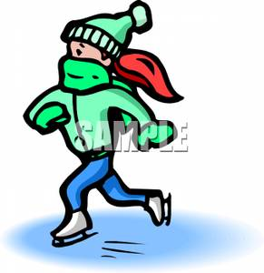 291x300 Red Headed Girl Ice Skating Clipart Picture