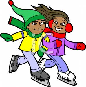 297x300 Smiling Children Ice Skating Clipart Image