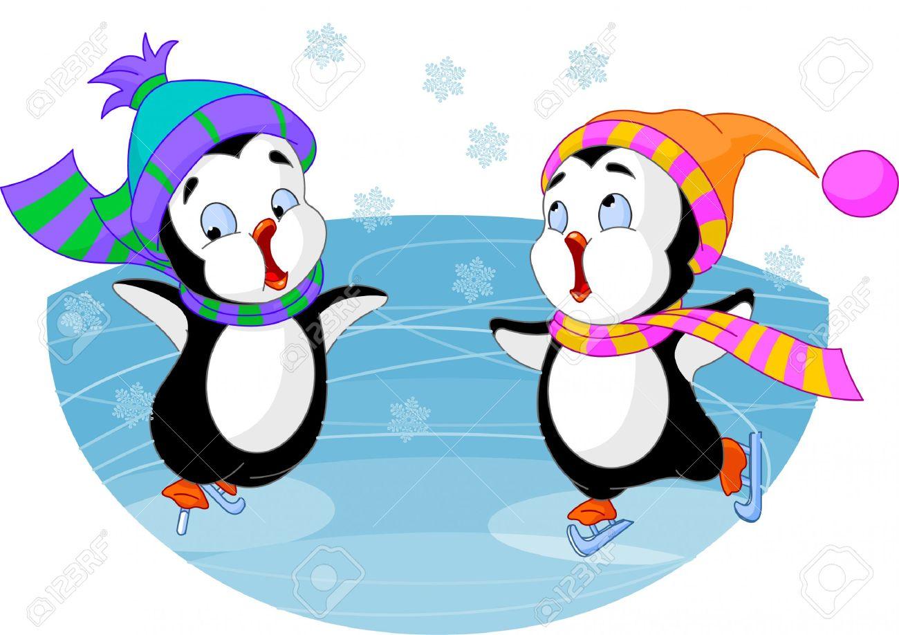 1300x918 Penguin Ice Skating Clipart