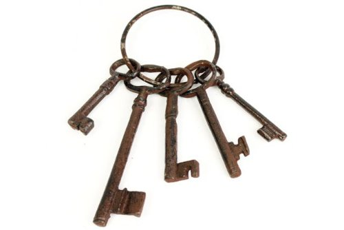 500x334 Vintage Rustic Iron Bunch Of Keys Amp Key Rings Garden Ornament