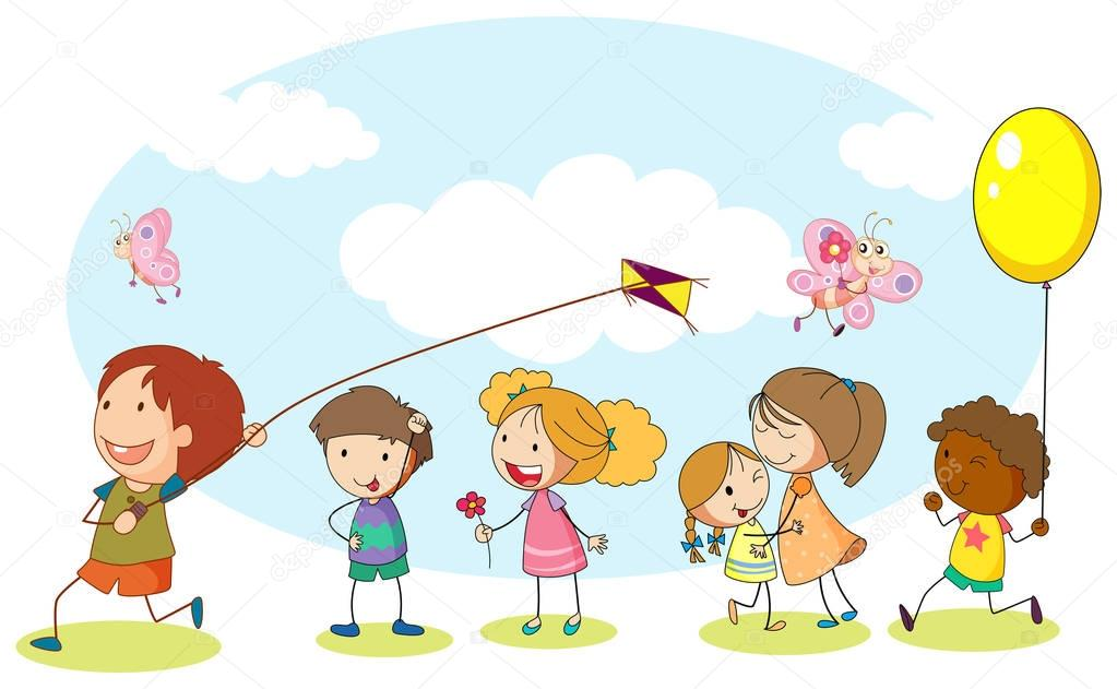 1023x631 Kids Playing Park Stock Vectors, Royalty Free Kids Playing Park