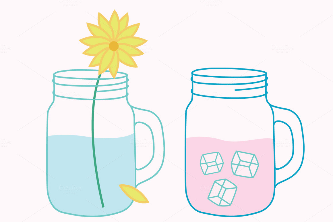 1160x772 Mason Jar With Straw Clipart Collection