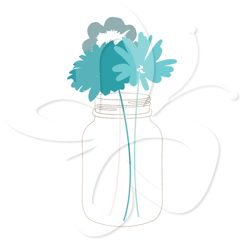 801x801 Bright Mason Jars And Flowers Creative Clipart Collection Image