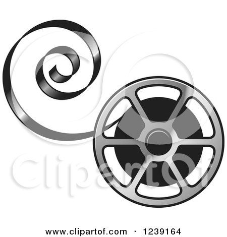 450x470 Clipart Of A Silver Film Reel With Curling Tape