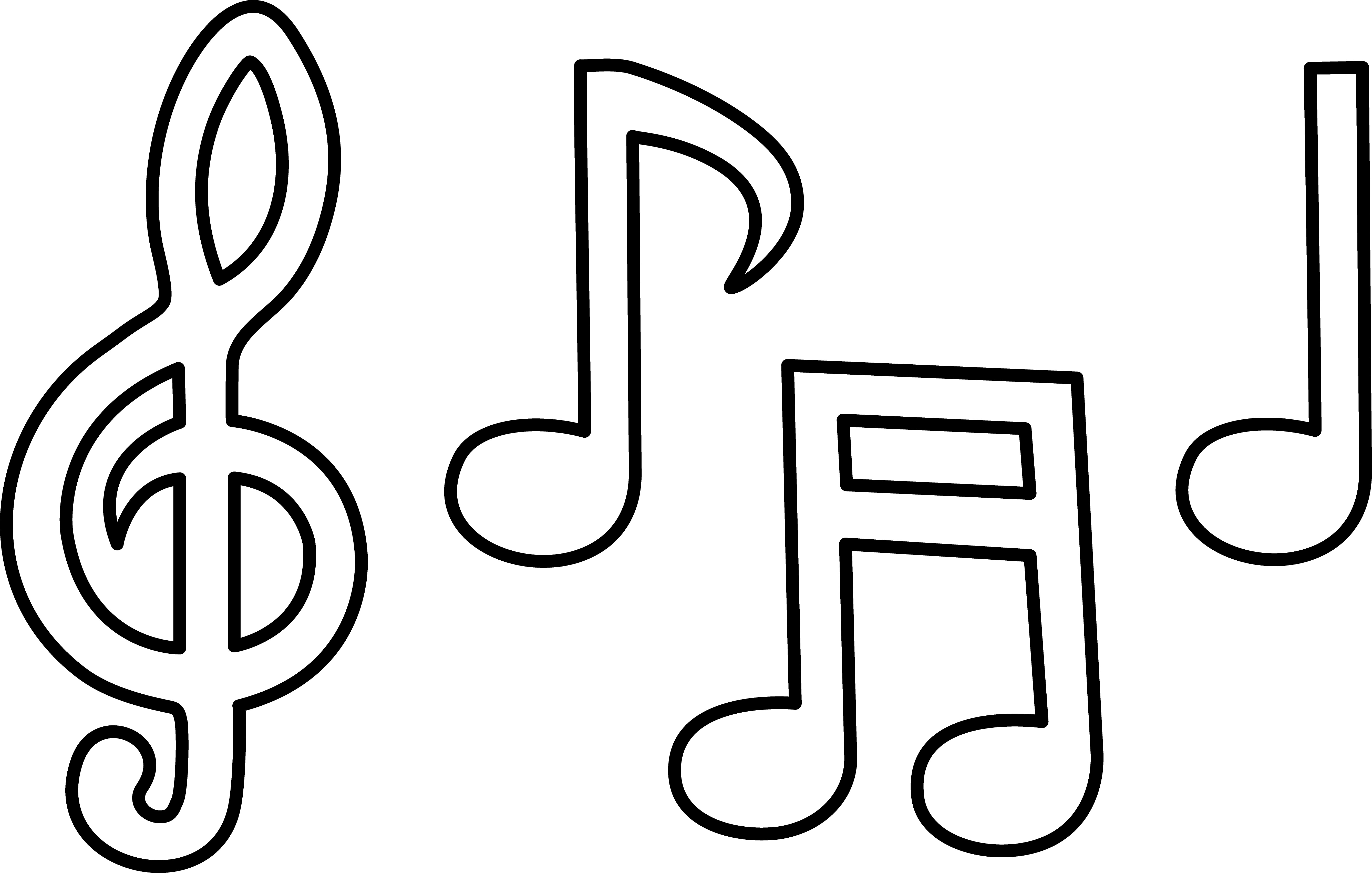 5355x3407 Black And White Music Notes Clipart