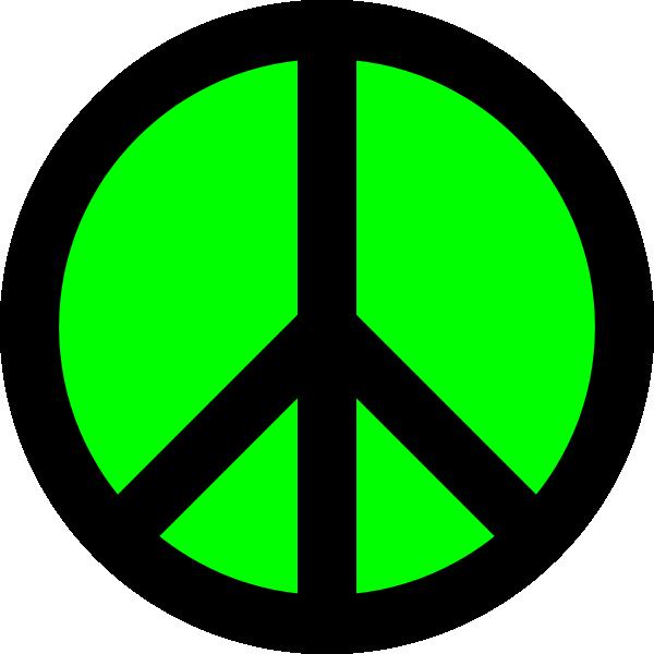 600x600 Neon Green Amp Black Peace Sign Clip Art