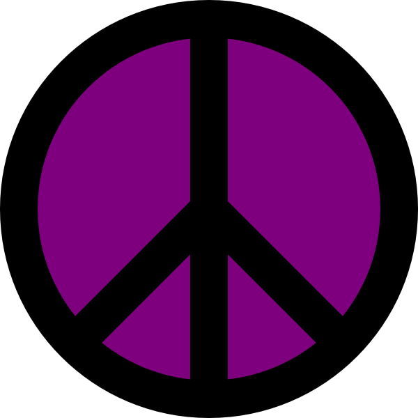 600x600 Purple And Black Peace Sign Clip Art