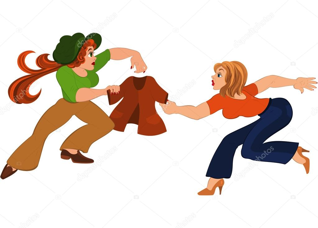 1023x735 Two Cartoon Girls Fighting Over Brown Jacket Stock Vector