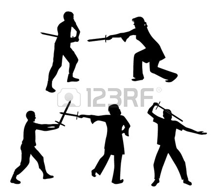 450x401 A Woman With A Sword In A Pose. Illustration Royalty Free Cliparts