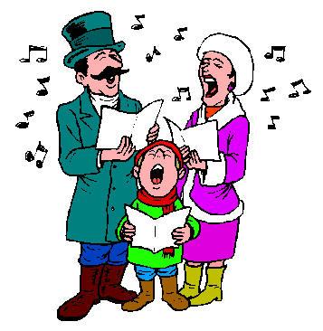 357x366 People Singing Christmas Carols Clipart