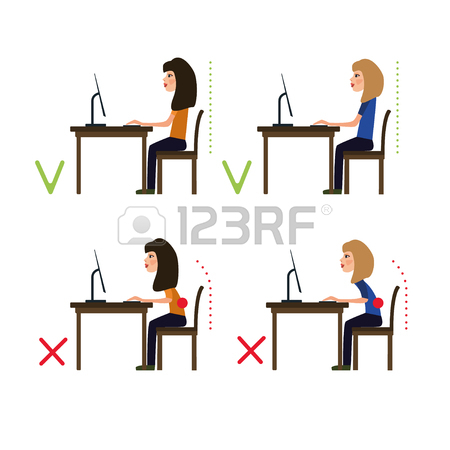 450x450 Correct Posture While Working At The Computer. Vector Illustration