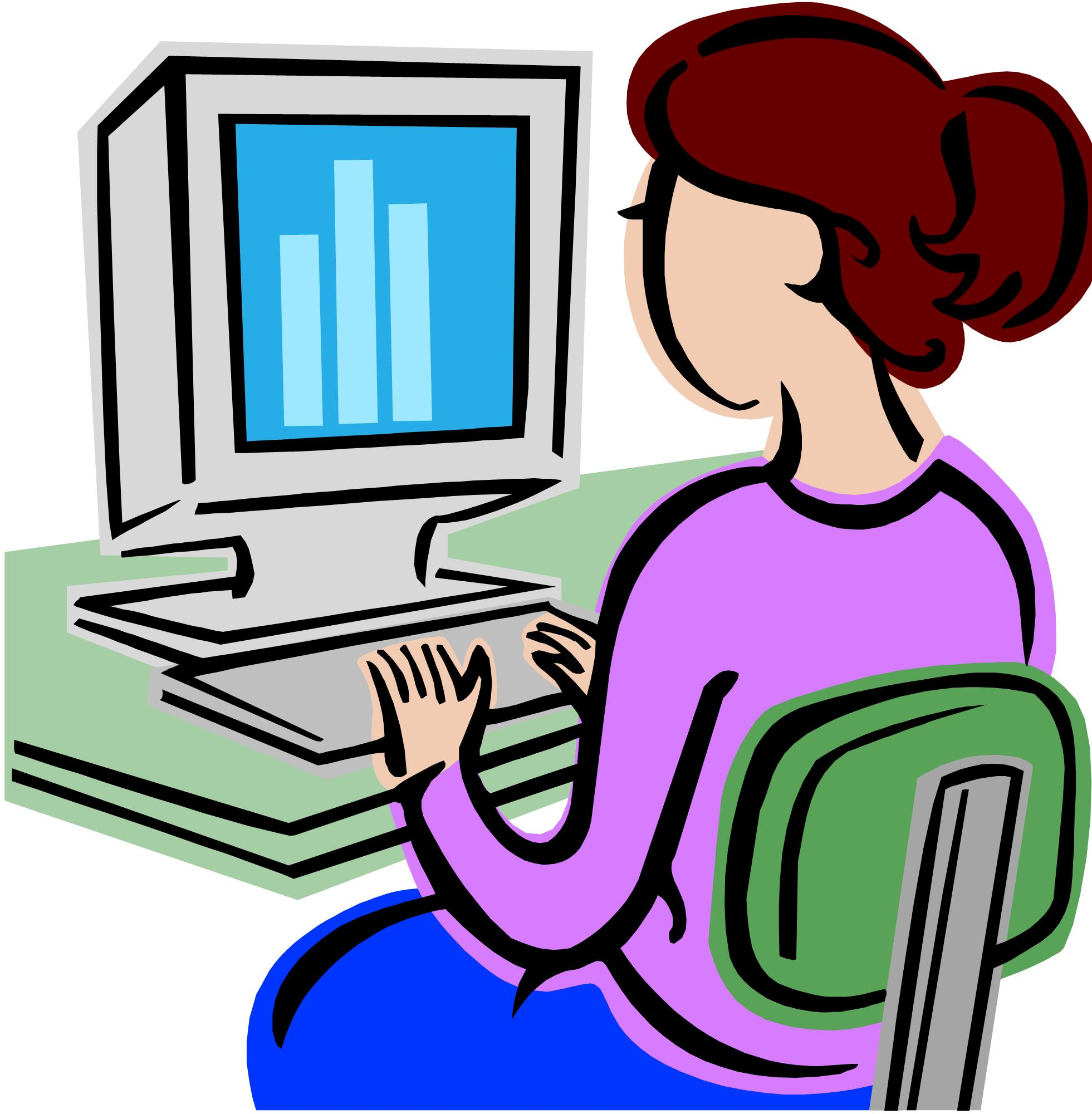 1961x2001 Girl Working On Computer Clipart
