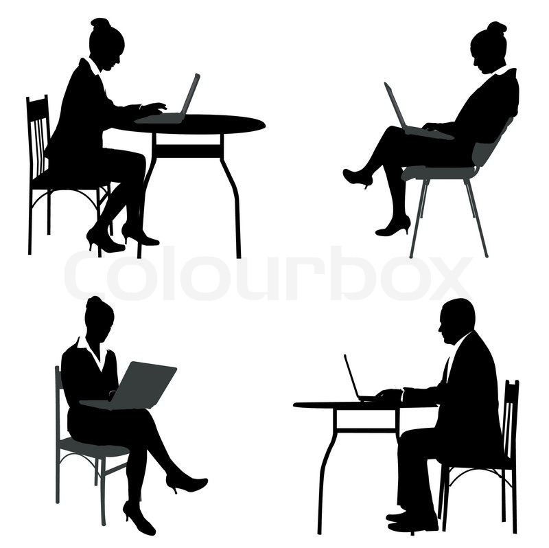 800x798 Man Sitting In Front Of Computer Stock Vector Colourbox