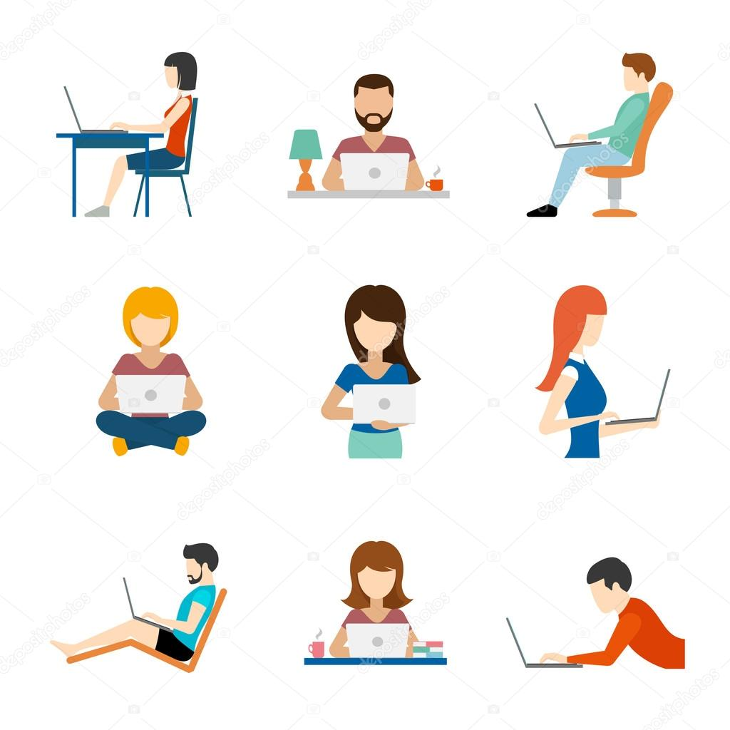 1024x1024 People Working On Computer Flat Icons Stock Vector Mssa