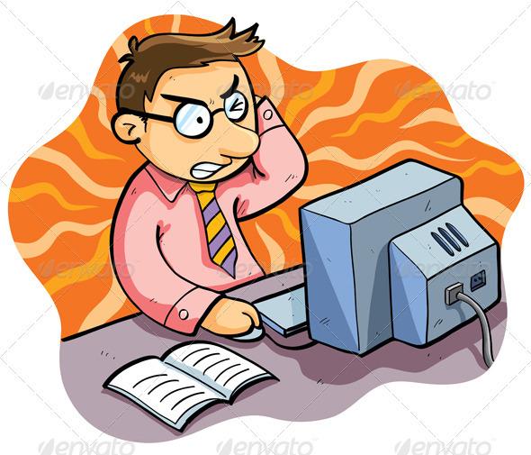 590x505 Cartoon People Working On Computers