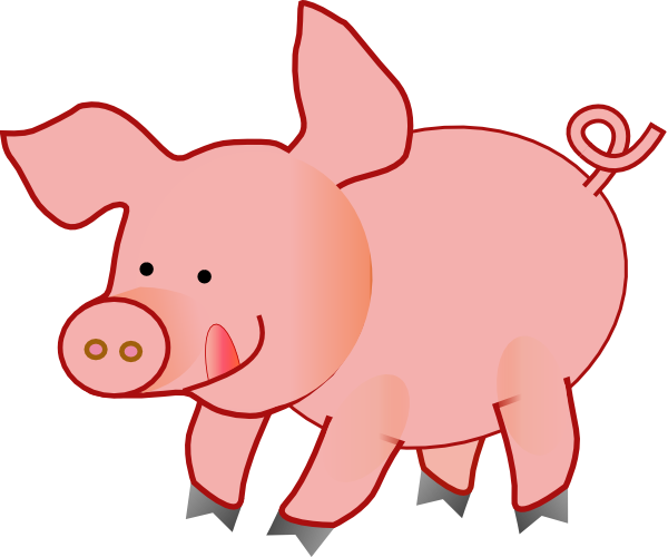600x500 Pink Happy Pig Clip Art