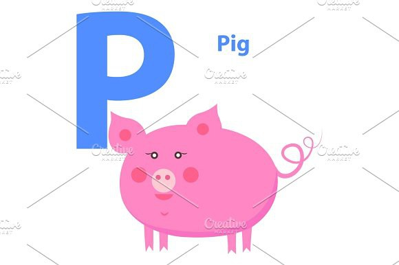 580x386 Cute Pink Pig On Alphabet Icon Character P Drawn Pigs, Icons And Ps